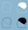 head with brain the black and white color icon vector image
