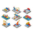 isometric sea port elements set vector image vector image