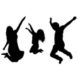jumping family silhouette vector image vector image
