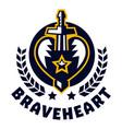 logo brave heart sword piercing heart vector image vector image