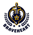 logo brave heart the sword piercing the heart vector image vector image