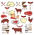 Meat and set of tools vector image vector image