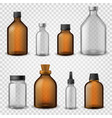 medical glass bottles 3d realistic brown blank vector image vector image