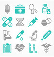 medical icons in grey blue vector image vector image