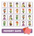 memory game for children cards with fairy-tale vector image vector image