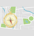 navigation map with vintage gold compass vector image