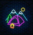 Neon camping sign with tent bonfire mountains