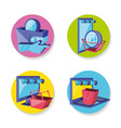 on line shopping set icons vector image vector image