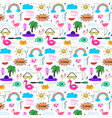 pattern with hand drawn doodle summer background vector image
