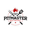 pitmaster barbecue logo stamp vector image vector image