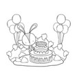 rabbit with sweet cake and balloons in the vector image vector image