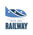 railway train logo original design railroad vector image vector image