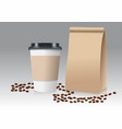 realistic take away paper coffee cup and brown vector image vector image