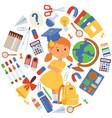 school items girl vector image