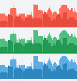 set of banners with colored city silhouettes vector image