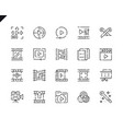 simple set video editing line icons for website vector image
