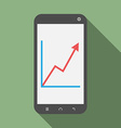 Smartphone with growth graph vector image vector image