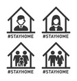 stayhome hashtag sign set coronavirus protection vector image vector image
