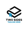 two sides book logo vector image