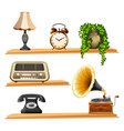 vintage items on wooden shelves vector image vector image