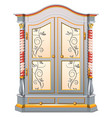 vintage wardrobe with patterned ornament isolated vector image vector image