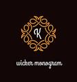 wicker monogram vector image vector image