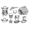 wild west cowboy vintage set symbols sketch vector image vector image