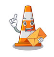 with envelope traffic cone on made in cartoon vector image vector image
