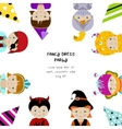 Background with kids in fancy dresses vector image
