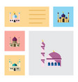 flat icon building set of building traditional vector image