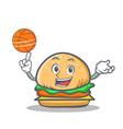 basketball burger character fast food vector image vector image