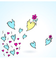 birds and flower heart love fly group element vector image