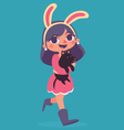 Bunny Girl Walking Holding a Puppy vector image
