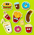 cartoon fast food cute character face stickers vector image vector image