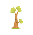 cartoon green tree with surprised face expression vector image