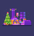 christmas evening home interior lovers sit on vector image