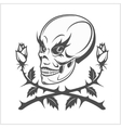 clown skull on white background vector image vector image