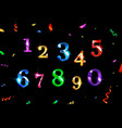 confetti numbers set vector image