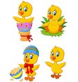 Cute funny baby chicken with Easter egg collection vector image vector image