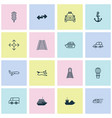 delivery icons set with train railway navigation vector image vector image