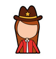 female sheriff avatar character vector image vector image