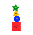 funny geometric shape cartoon character isolated