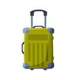 green modern plastic suitcase on wheels summer vector image vector image