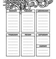 hand drawing black and white weekly planner vector image vector image