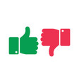like unlike buttons thumbs up and down isolated vector image vector image