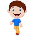Little boy cartoon walking vector image vector image