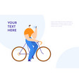 man on bicycle looking at smartphone male cartoon vector image vector image