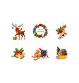 merry christmas cute bright holiday decoration vector image vector image