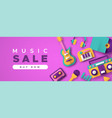 music business sale template with papercut icons vector image vector image