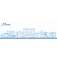 outline athens greece city skyline with blue